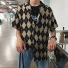 Short-sleeve Argyle Shirt