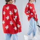 Duck Pattern Sweater Red - One Size