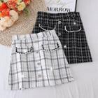 Color Block Tweed Plaid A-line Skirt
