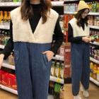 Fleece-panel Sleeveless Jumpsuit