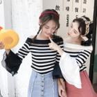 Off-shoulder Striped 3/4-sleeve Knit Top