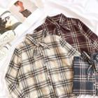 Plaid Tie-neck Long-sleeve Shirt