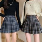 Pleated Mini A-line Plaid Skirt