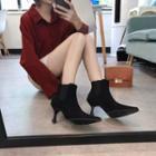 Kitten-heel Pointed Short Boots