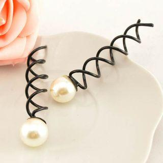 Faux Pearl Spiral Hair Pin White Pearl - One Size