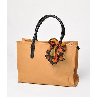 Scarf-accent Tote Beige - One Size