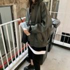 Faux Leather Zip Coat