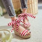 Stripe Wedge Sandals