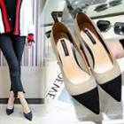 Knit Color Block Pointed Pumps