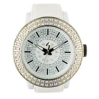 Diamond Lens Glass White Strap Watch