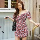 Floral-pattern Shirred Dress