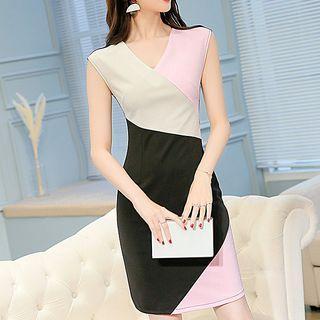 Color Block Sleeveless V-neck Sheath Dress