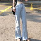 High-waist Trim Denim Pants