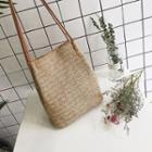 Plain Straw Shoulder Bag