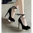 Embellished Ankle-tie Platform Stilettos