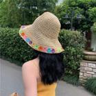 Flower Straw Bucket Hat