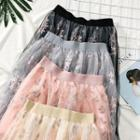 Flower-embroidered Midi Skirt