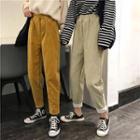Plain Corduroy Cropped Pants
