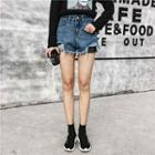 Fishnet Panel Distressed Denim Shorts