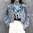 Turtleneck Long-sleeve T-shirt / Leopard Pattern Knit Vest / Cropped Denim Jacket