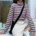 Mock-neck Rainbow Striped Top