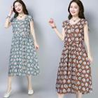 Flower Print Short-sleeve Midi A-line Dress