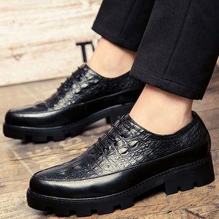 Croc Print Platform Oxford Shoes