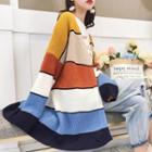 Striped Long-sleeve Knit Cardigan