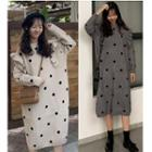 Long-sleeve Dotted A-line Midi Knit Dress