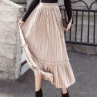 Velvet Midi A-line Pleated Skirt
