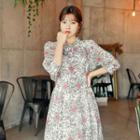 Tie-front Floral Print Midi Dress