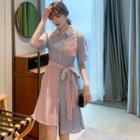 Short-sleeve Striped Mini A-line Shirt Dress