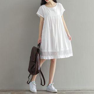 Lace Trim Short Sleeve Dress