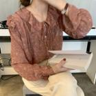 Long-sleeve Floral Print Chiffon Top Pink - One Size