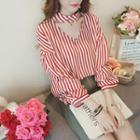 Cut Out Front Elbow-sleeve Striped Blouse