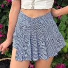 Pleated Patterned Mini Skirt