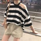 Striped Off-shoulder Loose-fit Short-sleeve T-shirt
