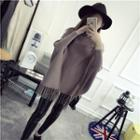 Long-sleeve Fringed Cape Knit Top