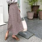 A-line Gingham Check Long Skirt