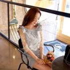 Lace-panel Check Sheath Dress