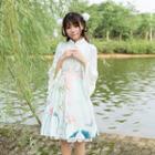 Lace Trim Bell-sleeve Blouse / Floral Print Suspender Skirt