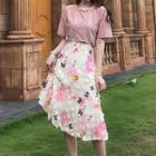 Plain Short-sleeve Top / Floral Midi Skirt