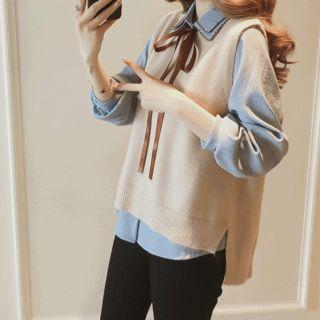 Pinstriped Shirt / Open Back Lace Up Knit Vest / Set