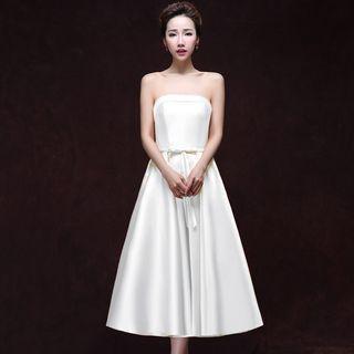 Plain Strapless Bridesmaid Dress