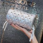 Studded Quilted Faux Leather Cylinder Crossbody Bag