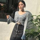 Plain Cropped Long Sleeve Knit Top