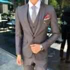 Suit Set: Plain Blazer + Vest + Dress Pants