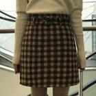 Plaid Mini Skirt With Belt