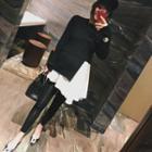 Mock Two-piece Long-sleeve Asymmetric Mini Dress