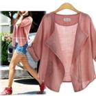Cuffed Sleeve Linen Cotton Jacket